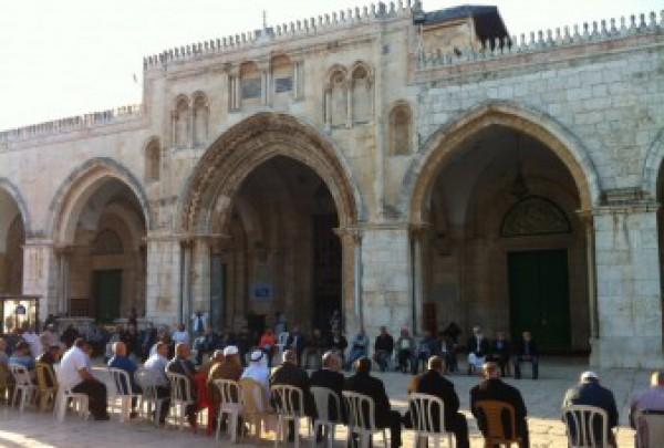 اعتصام الفلسطينين داخل باحات المسجد الاقصى