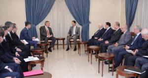 الرئيس السوري بشار الأسد مع الوفد الروسي